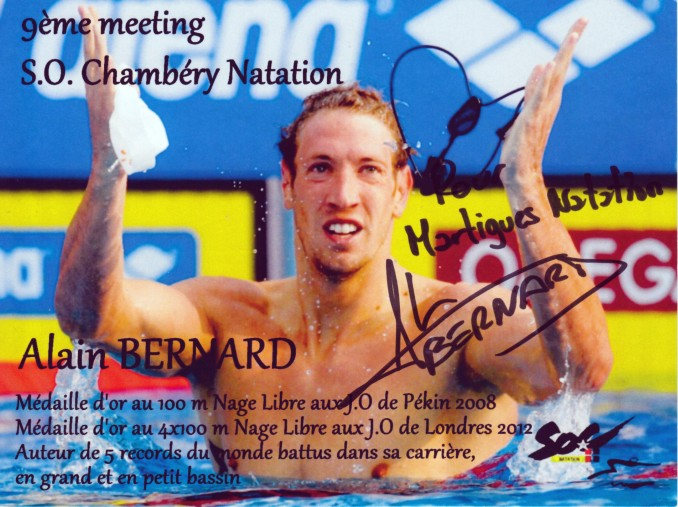 Photo dédicacée d'Alain Bernard (meeting de Chambéry 2013) - MARTIGUES NATATION
